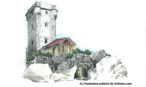 Das erste Artwork zum Knights Ride Tower ähnelt dem fertigen Turm sehr.