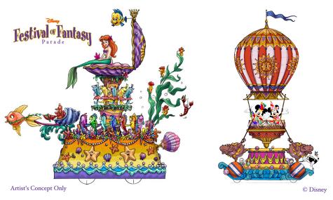 Dieses Artwork zeigt die Paradewagen von Mickey und Arielle