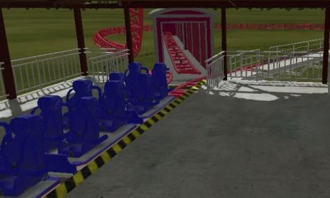 Hier sind die neuen Rocket-Coaster Züge, sowie ein Abstellgleis und eine Weiche zu sehen