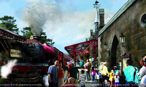 ...und ankommen ins Hogsmeade am Fuße von Hogwarts.