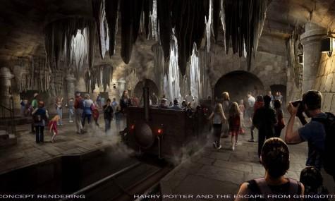 """Frisch veröffentliches Artwork zur neuen Achterbahn """"Harry Potter and the Escape from Gringotts"""" - Anklicken zum Vergrößern!"""