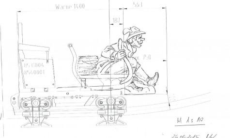 Die Konzept-Zeichnung des Wagen
